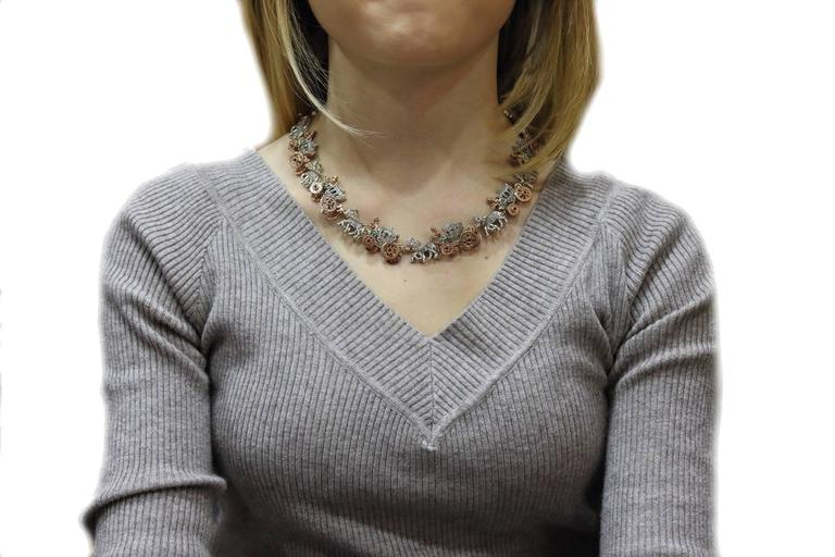 KT 2,57 Emerald Ruby,and KT 3,55 Diamond Rose Gold Choker Necklace In Good Condition For Sale In Marcianise, Caserta