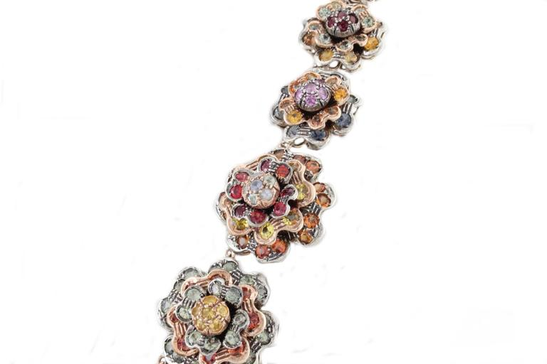 Retro KT 77,22 sapphire multicolor Choker Gold and Silver  Necklace For Sale