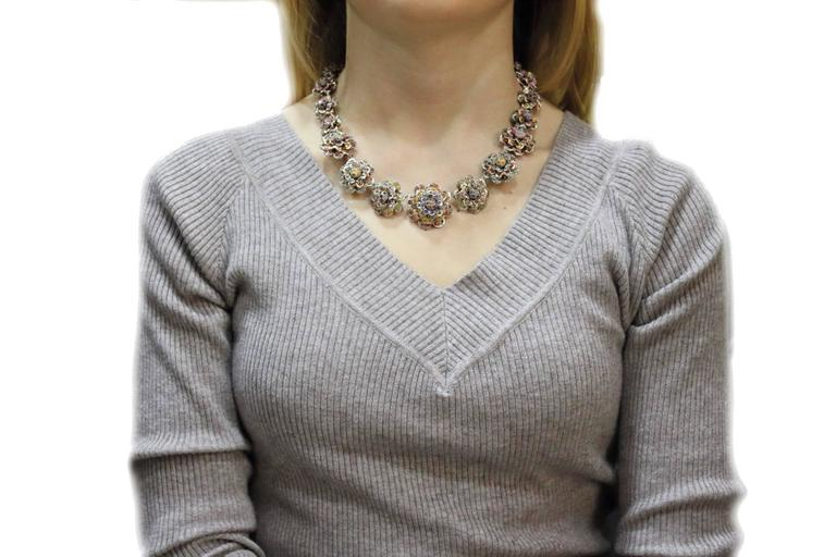 KT 77,22 sapphire multicolor Choker Gold and Silver  Necklace In Good Condition For Sale In Marcianise, Caserta