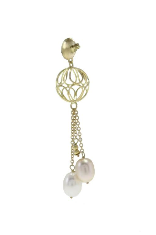 Retro  Yellow Gold Sphere Pearl Drop Earrings For Sale