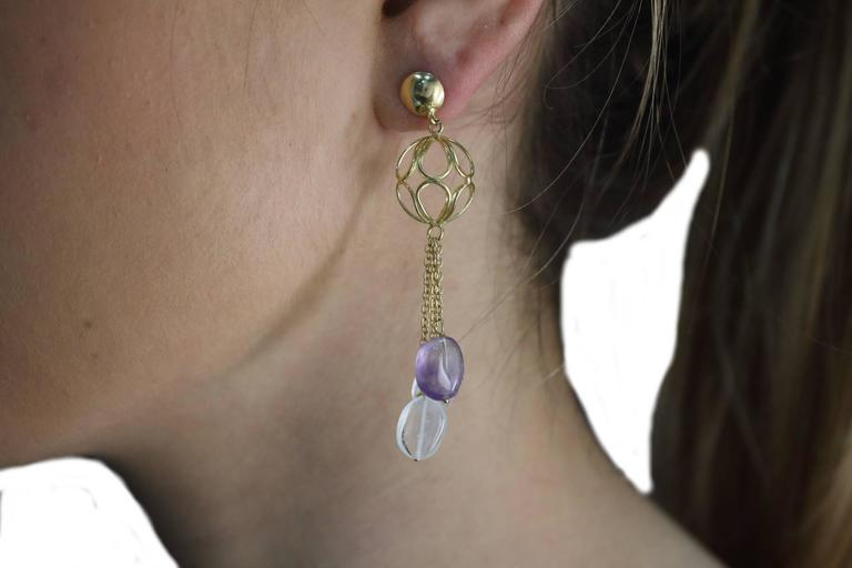 Luise Gold Sphere Drop Earrings In Good Condition For Sale In Marcianise, Caserta