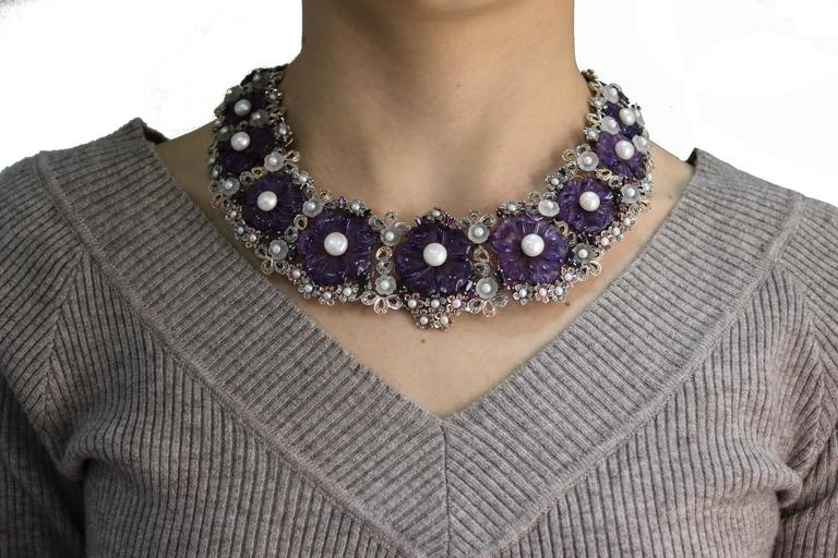 Amethyst Diamond Pearl Choker Gold  Necklace In New Condition For Sale In Marcianise (CE), IT