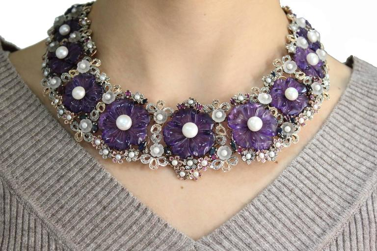 Women's  Amethyst Diamond Pearl Choker Gold  Necklace For Sale