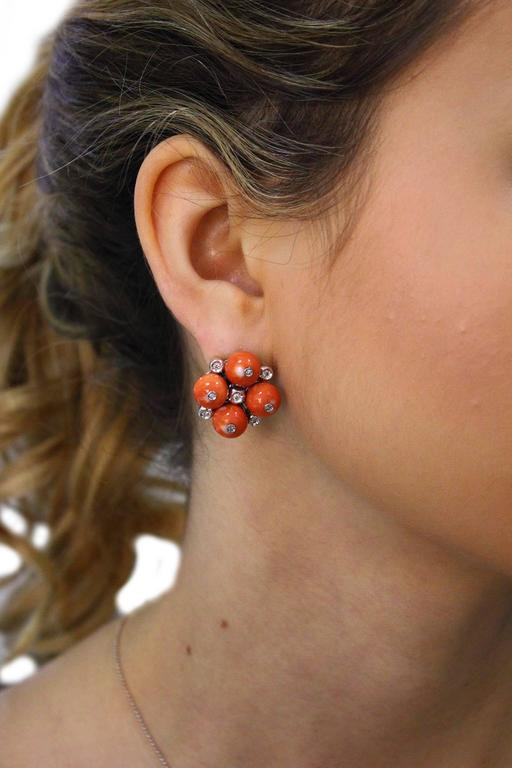 Coral Diamond Gold Earrings In As new Condition For Sale In Marcianise (CE), IT