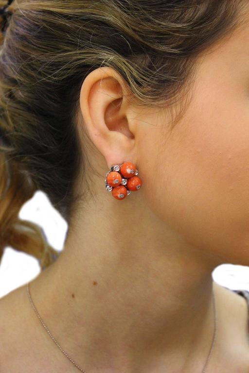 Women's  Coral Diamond Gold Earrings For Sale