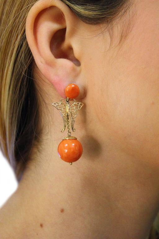 Women's  Coral Sphere Diamond Gold Earrings For Sale