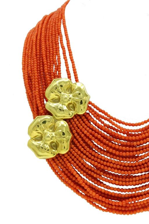 Luise Coral Strands and Gold Flower Necklace 2