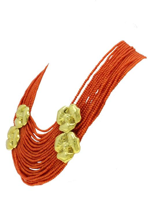 Luise Coral Strands and Gold Flower Necklace 3