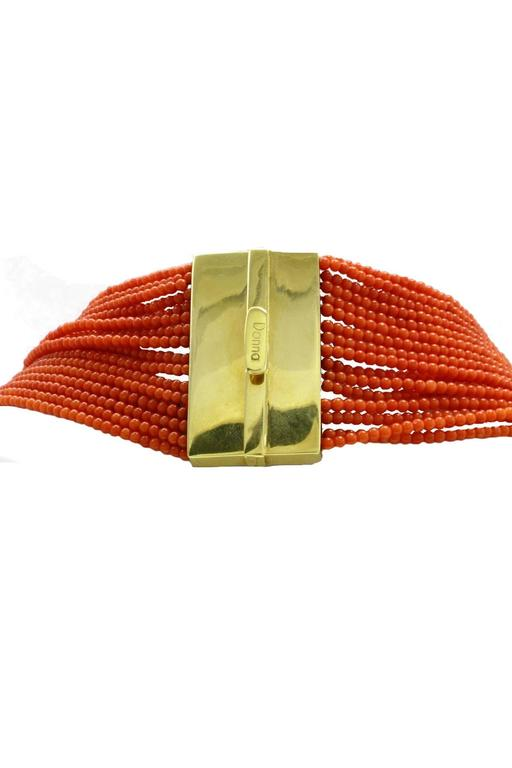 Luise Coral Strands and Gold Flower Necklace 4