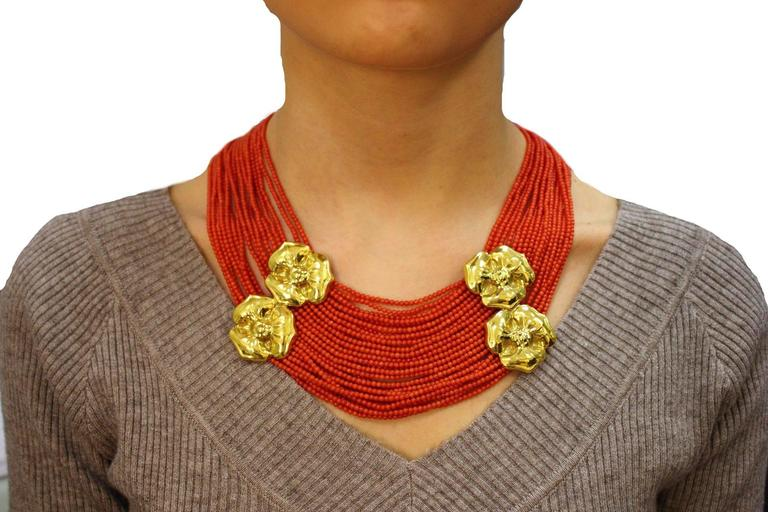 Luise Coral Strands and Gold Flower Necklace 5