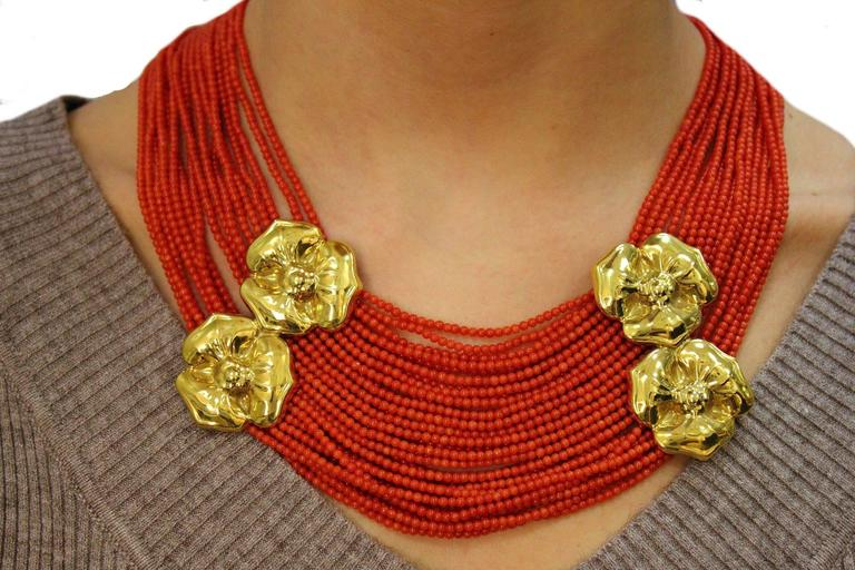 Luise Coral Strands and Gold Flower Necklace 6