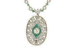 Emerald Diamond Gold Brooch Necklace