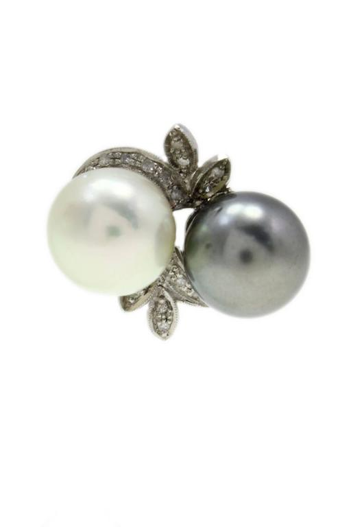 Luise Pearl Diamond Gold Stud Earrings 2