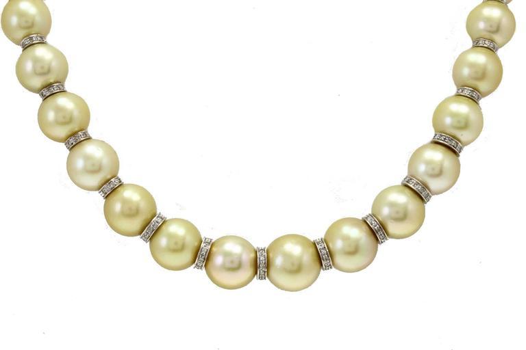 Retro Australian Pearl Diamond Gold Necklace For Sale