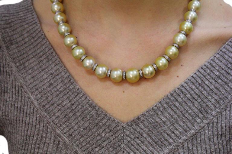 Women's Australian Pearl Diamond Gold Necklace For Sale
