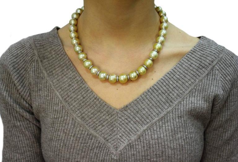 Australian Pearl Diamond Gold Necklace For Sale 1