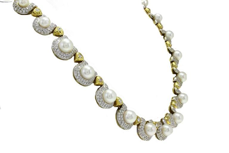 Retro  Pearl Diamond Gold Necklace For Sale