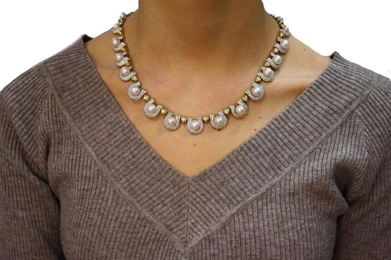 Women's  Pearl Diamond Gold Necklace For Sale