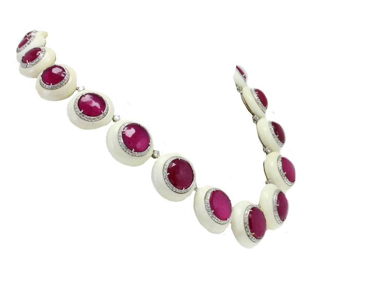 Retro  Gold Diamond Ruby Stone Link Necklace For Sale