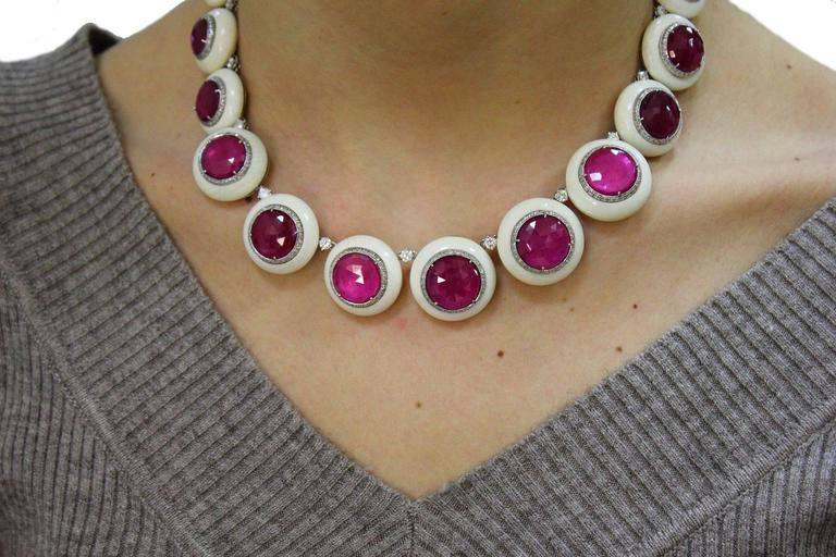Women's  Gold Diamond Ruby Stone Link Necklace For Sale