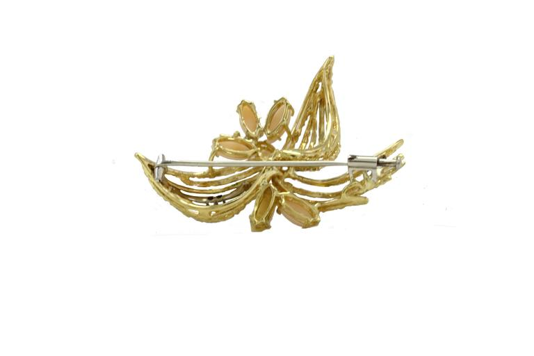Luise Gold Diamond Coral Brooch 4