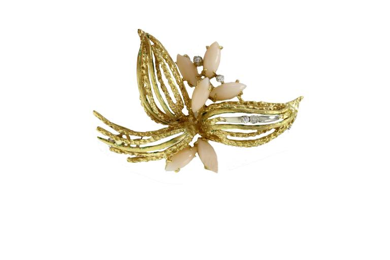 Luise Gold Diamond Coral Brooch 2