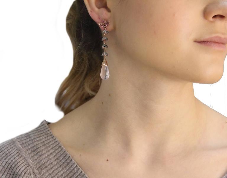 Luise Quartz Ruby Silver Diamond Gold Dangle Earrings 4