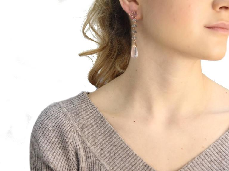 Luise Quartz Ruby Silver Diamond Gold Dangle Earrings 5