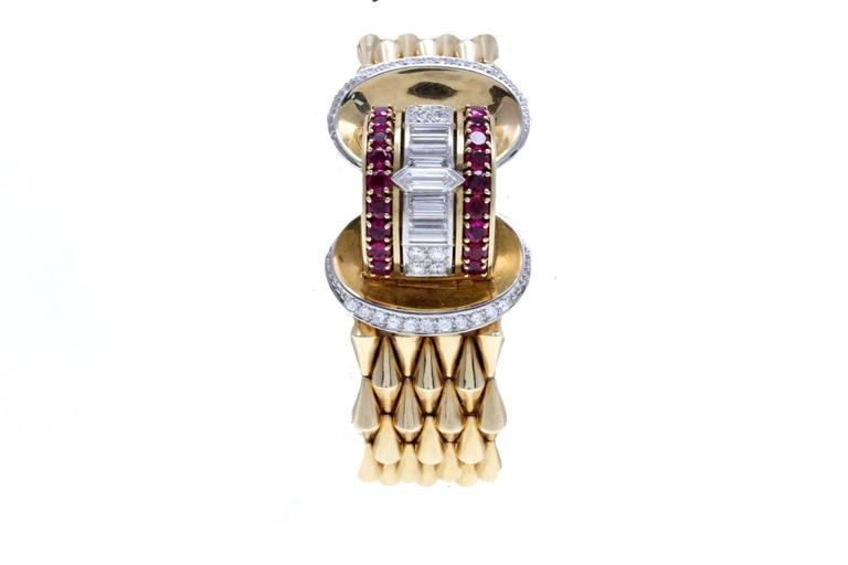 Luise Gold Diamond Ruby Bracelet/Watch 2