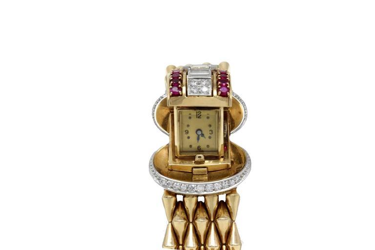 Luise Gold Diamond Ruby Bracelet/Watch 3