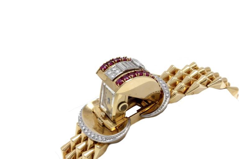 Luise Gold Diamond Ruby Bracelet/Watch 4