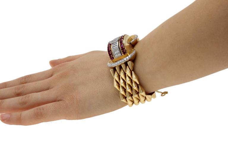 Luise Gold Diamond Ruby Bracelet/Watch 5