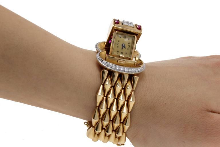 Luise Gold Diamond Ruby Bracelet/Watch 6