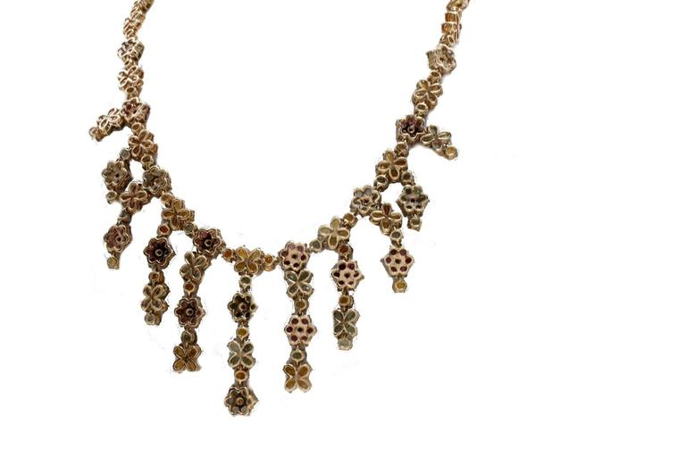 Retro ct 1,60 Diamond and ct 61,55 Sapphire gold Necklace For Sale