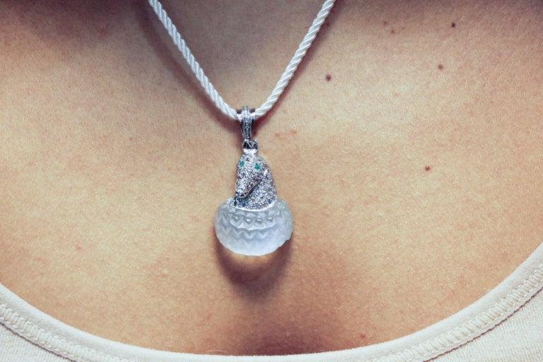 Gold Silver Diamond Emerald Rock Crystal Pendant For Sale 1