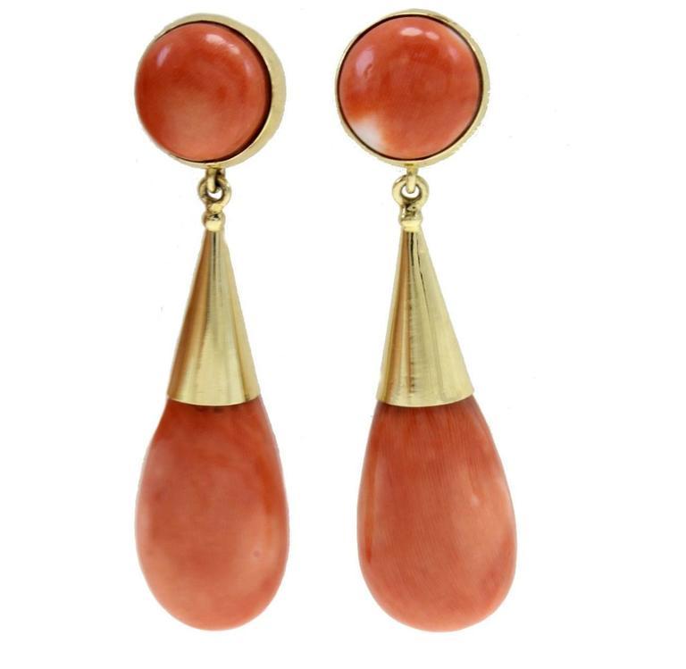 Gold Coral Drop Earrings