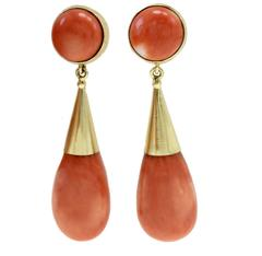 Gold Coral Drop Earrings