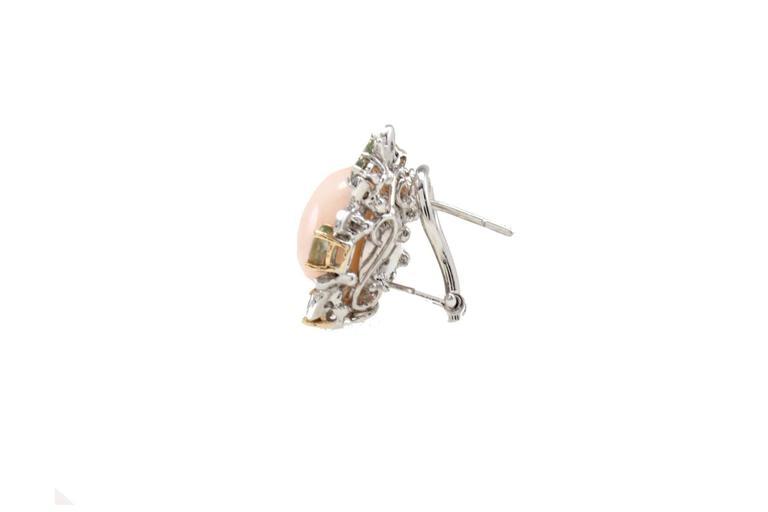Retro  Gold Diamond Sapphire Coral Stud Earring For Sale