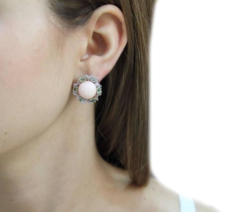 Gold Diamond Sapphire Coral Stud Earring In As new Condition For Sale In Marcianise (CE), IT