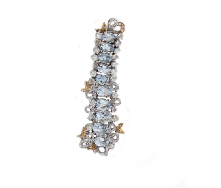 Gold Diamond Aquamarine Drop Earrings 2