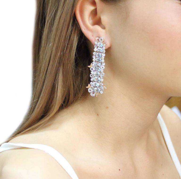 Gold Diamond Aquamarine Drop Earrings 4