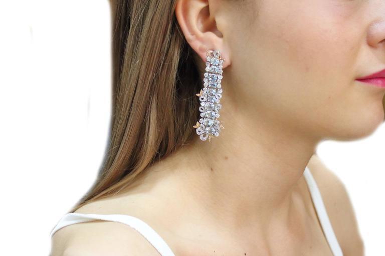 Gold Diamond Aquamarine Drop Earrings 5