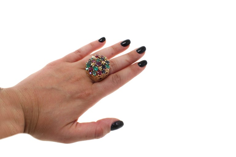 Women's Gold Diamond Ruby Sapphire Emerald Cluster Ring For Sale