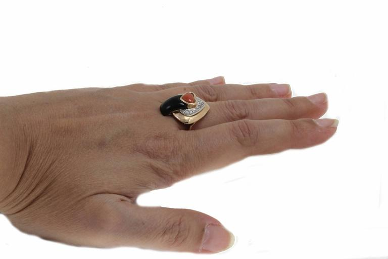 Women's Coral Diamond Onyx Fashion Ring For Sale