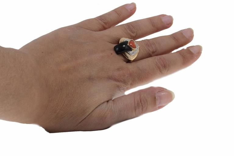 Coral Diamond Onyx Fashion Ring For Sale 2
