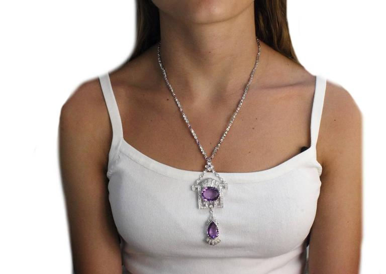 Retro  Gold Diamond Amethyst Pendant Necklace For Sale