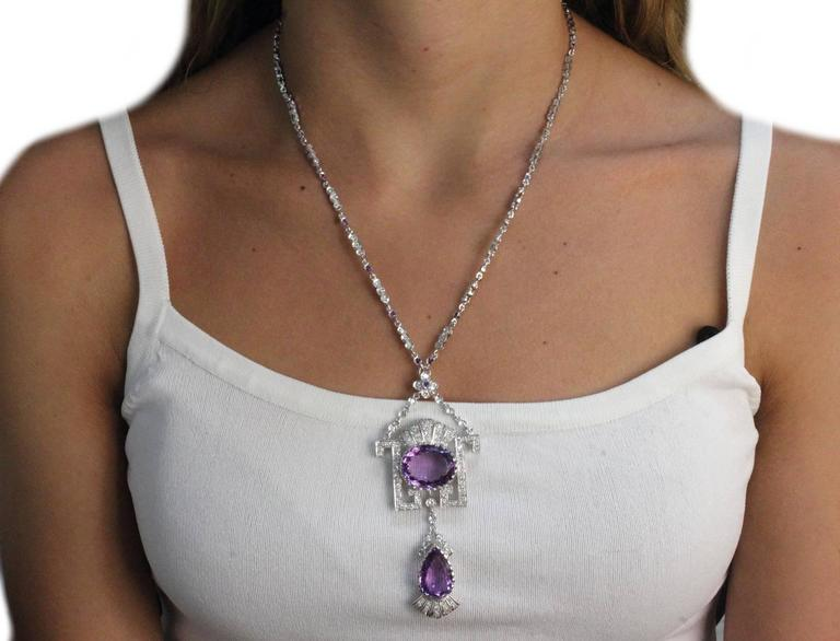 Gold Diamond Amethyst Pendant Necklace In As new Condition For Sale In Marcianise (CE), IT