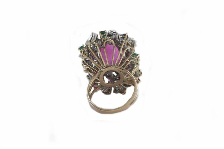 Retro Ruby Multi Gemstone Two Color Gold Cluster Ring For Sale