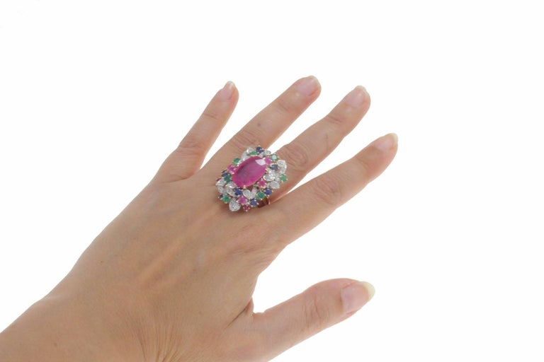 Ruby Multi Gemstone Two Color Gold Cluster Ring For Sale 3
