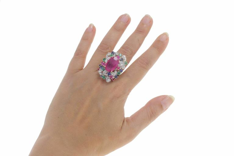 Women's Ruby Multi Gemstone Two Color Gold Cluster Ring For Sale